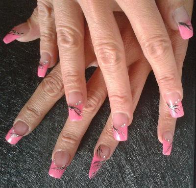 Ongle en gel rose claire - Gel rose fluo ...